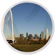 Margaret Hunt Hill Bridge In Dallas - Texas Round Beach Towel