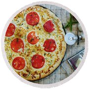 Margarita Pizza With Ingredients Round Beach Towel
