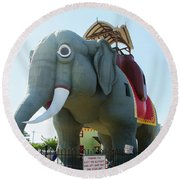 Margate New Jersey - Lucy The Elephant Round Beach Towel