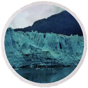 Margerie Glacier - Reflection Round Beach Towel
