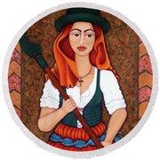 Maria Da Fonte - The Revolt Of Women Round Beach Towel