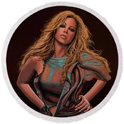 Mariah Carey Painting Round Beach Towel