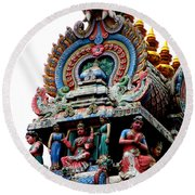 Mariamman Temple Detail 3 Round Beach Towel