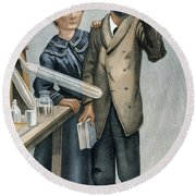 Marie And Pierre Curie Round Beach Towel