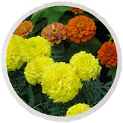 Marigold And Zinnias Round Beach Towel