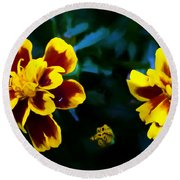 Marigold In Living Color Round Beach Towel