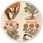 Marigolds Round Beach Towel