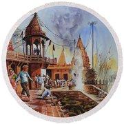 Marikarnika Ghat Varanasi Round Beach Towel