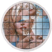 Marilyn 127 Tryp Round Beach Towel by Theo Danella