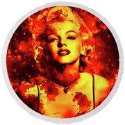 Marilyn Monroe   Golden  Round Beach Towel