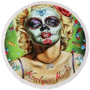 Marilyn Monroe Jfk Day Of The Dead  Round Beach Towel