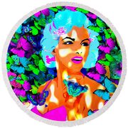 Marilyn Monroe Light And Butterflies Round Beach Towel