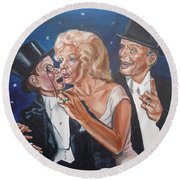 Marilyn Monroe Marries Charlie Mccarthy Round Beach Towel