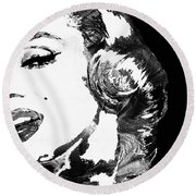 Marilyn Monroe Painting - Bombshell Black And White - By Sharon Cummings Round Beach Towel