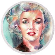 Marilyn Monroe Portrait Round Beach Towel