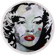 Marilyn Monroe Red Flower Round Beach Towel