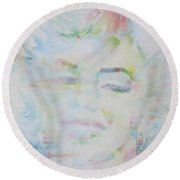 Marilyn Monroe - Watercolor Portrait.13 Round Beach Towel