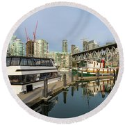 Marina At Granville Island In Vancouver Bc Round Beach Towel