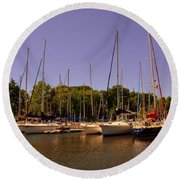 Marina At Lake Murray S C Round Beach Towel