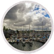 Marina In Olympia Washington Waterfront Round Beach Towel