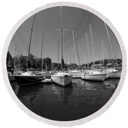 Marina On Lake Murray S C Black And White Round Beach Towel