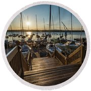 Marina Sunrise Round Beach Towel