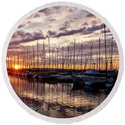 Marina Sunset Round Beach Towel