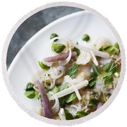 Marinated Tuna Vegetable And Herb Salad Round Beach Towel
