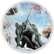 Marine Corps Art Academy Commemoration Oil Painting By Todd Krasovetz Round Beach Towel