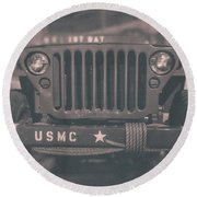 Marine Corps Jeep In Black And White Round Beach Towel