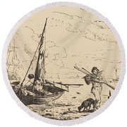 Marine: Fishing Boats On Shore, Man With Oars, Ship In Distance Round Beach Towel
