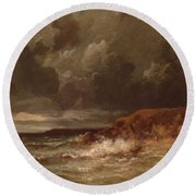 Marine Landscape The Cape And Dunes Of Saint Quentin 1870 Round Beach Towel