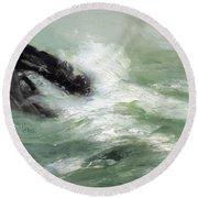 Marine Storm Sea 1911 Round Beach Towel