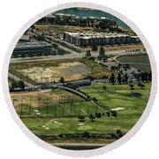 Mariners Point Golf Center In Foster City, California Aerial Photo Round Beach Towel