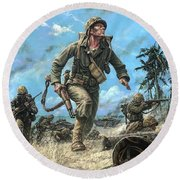 Marines In The Pacific Round Beach Towel