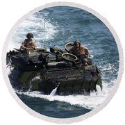 Marines Operate An Amphibious Assault Round Beach Towel