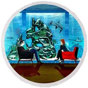 Marinelife Observing Couple Sitting In Chairs Round Beach Towel