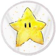 Mario Invincibility Star Watercolor Round Beach Towel