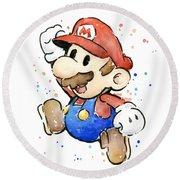 Mario Watercolor Fan Art Round Beach Towel