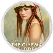 Marion Davies In The Cinema Murder 1919 Round Beach Towel