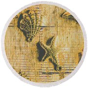 Maritime Sea Scroll Round Beach Towel