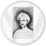 Mark Twain In His Own Words Round Beach Towel