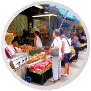 Market At Bensonhurst Brooklyn Ny 1 Round Beach Towel