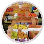Market At Bensonhurst Brooklyn Ny 11 Round Beach Towel