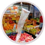 Market At Bensonhurst Brooklyn Ny 3 Round Beach Towel
