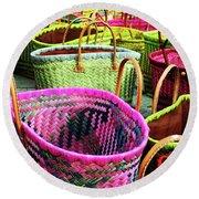 Market Baskets - Libourne Round Beach Towel