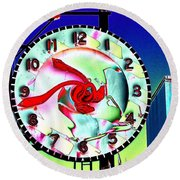Market Clock 2 Round Beach Towel