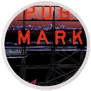 Market Ferry 2 Round Beach Towel