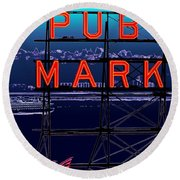 Market Ferry Round Beach Towel