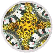 Market Flowers Round Beach Towel
